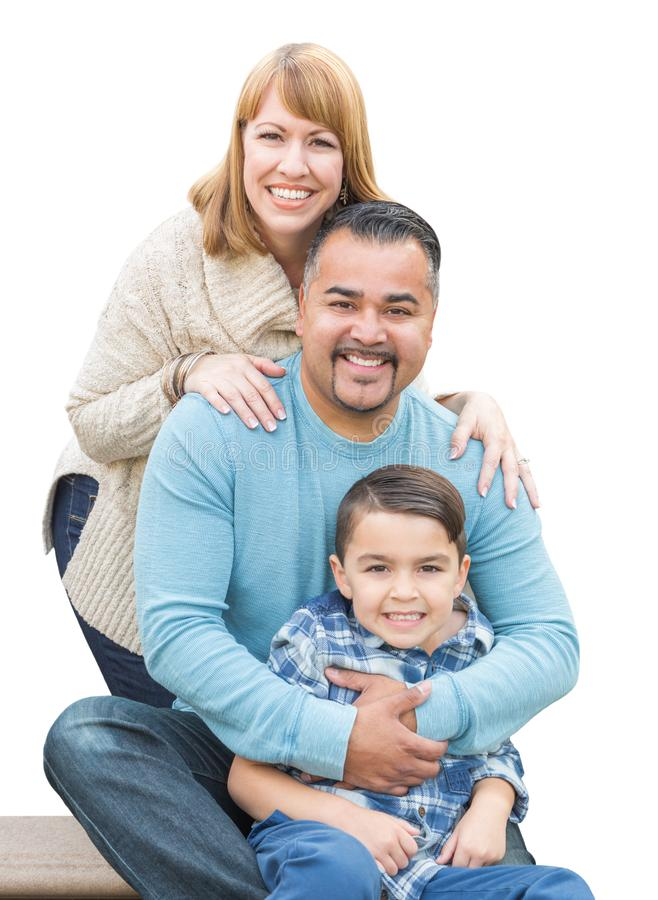 Mixed Race Hispanic and Caucasian Family on White. Happy Mixed Race Hispanic and Caucasian Family Isolated on a White Background royalty free stock image