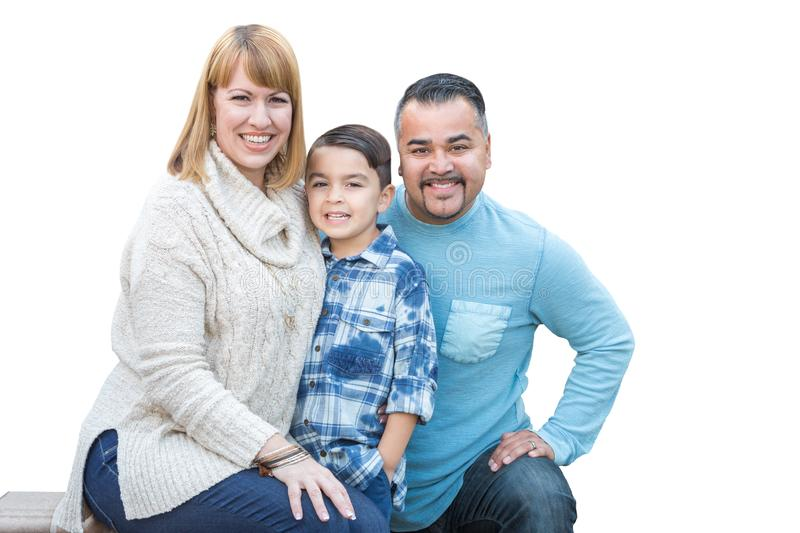 Mixed Race Hispanic and Caucasian Family on White. Happy Mixed Race Hispanic and Caucasian Family Isolated on a White Background royalty free stock images