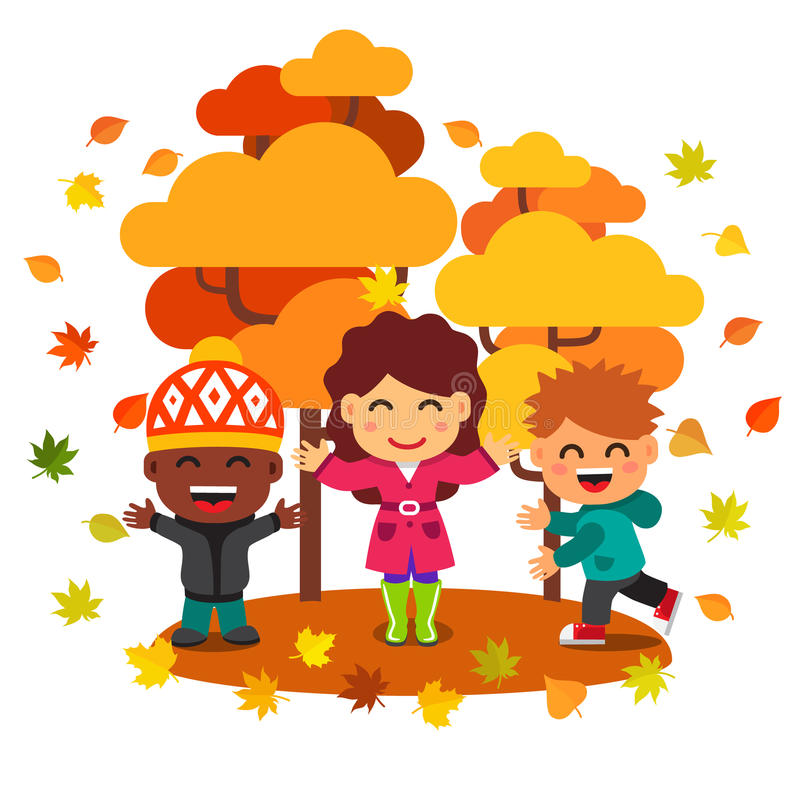 Mixed race kids having fun and playing with leaves royalty free illustration