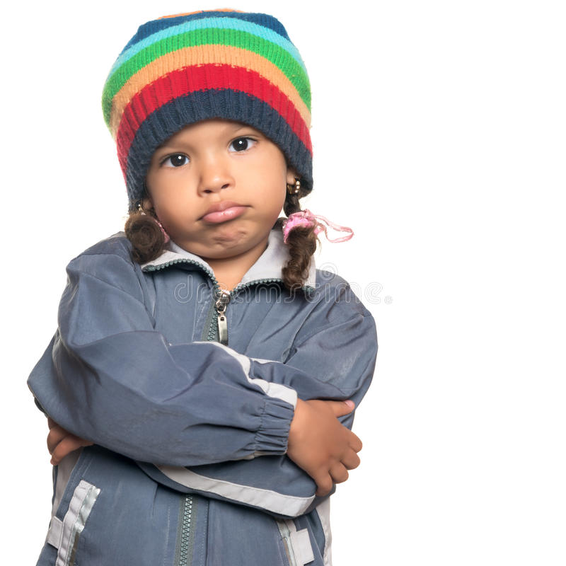 Mixed race little girl with a rapper attitude royalty free stock image