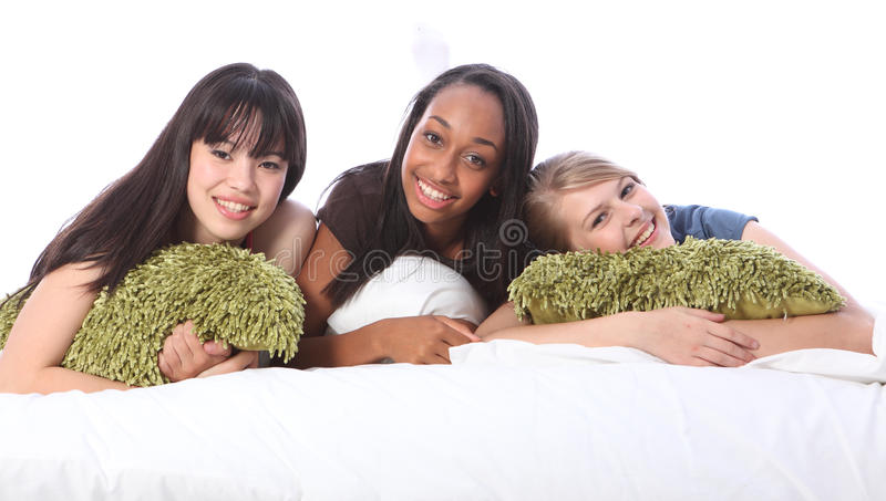 Download Mixed Race Teenage Girl Friends At Slumber Party Stock Photo - Image: 21470086