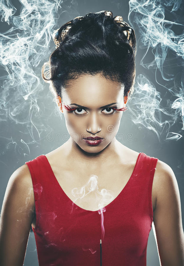 Free Mixed Race Woman Holding Burning Incense Stick Royalty Free Stock Images - 30127779