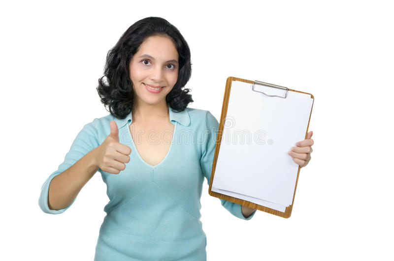 Download Mixed Race Woman Show Blank Paper Stock Photography - Image: 19149732