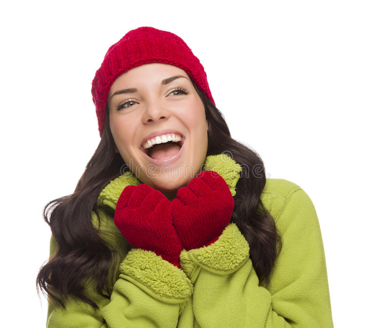 Mixed Race Woman Wearing Hat and Gloves Looking to Side. Beautiful Mixed Race Woman Wearing Winter Hat and Gloves Looking to the Side Isolated on a White stock photography