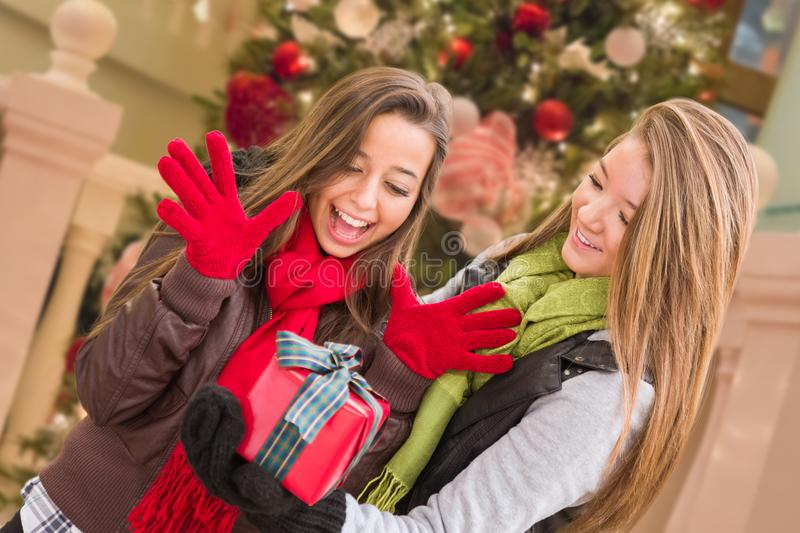Mixed Race Young Adult Females Exchanging A Christmas Gift In Fr. Ont Of Decorated Tree royalty free stock images