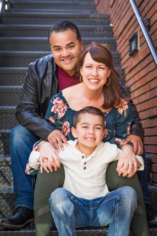 Mixed Race Young Family Portrait in the City royalty free stock photo