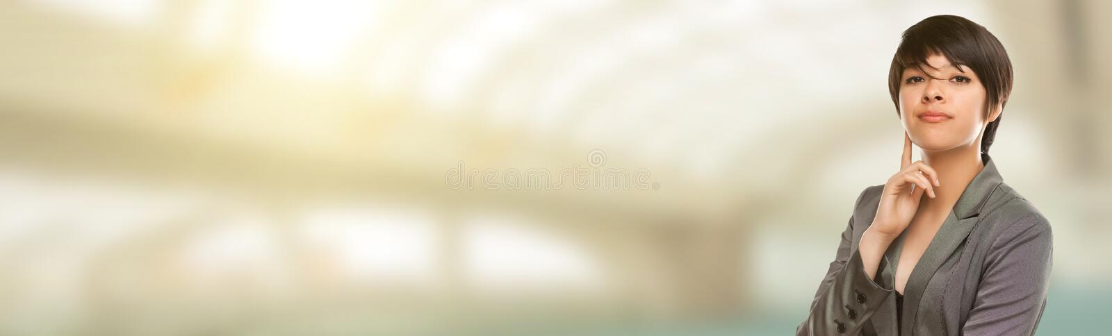 Mixed Race Young Female Portrait with Room For Text. royalty free stock photography