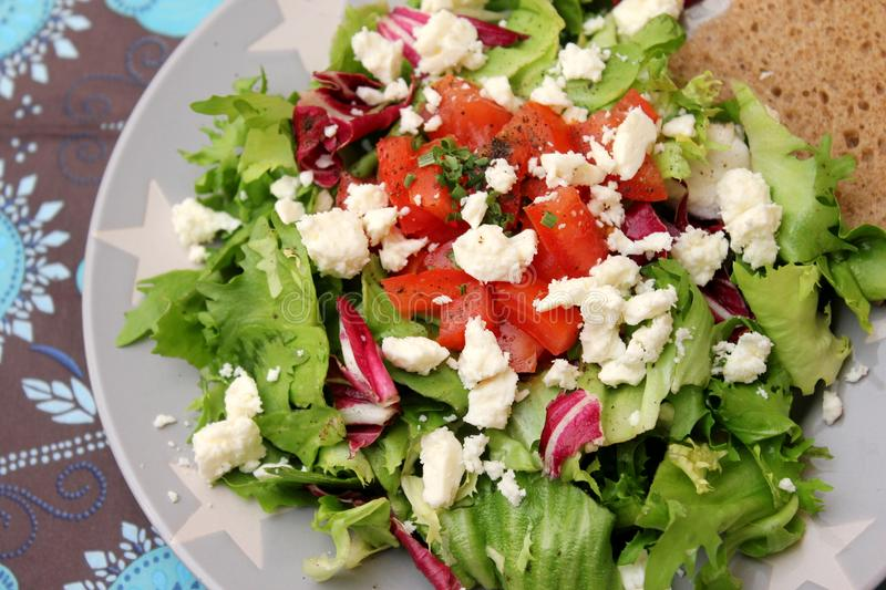 Mixed salad with feta cheese royalty free stock images