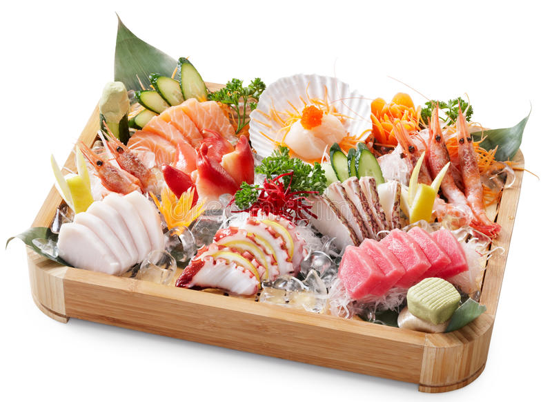 Mixed sashimi. Delicious mixed sashimi isolated on white background royalty free stock images