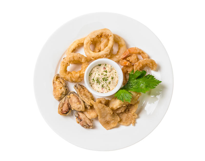 Mixed Seafood Deep Fries, squid, mussel, fish, shrimps. Isolated white background stock images
