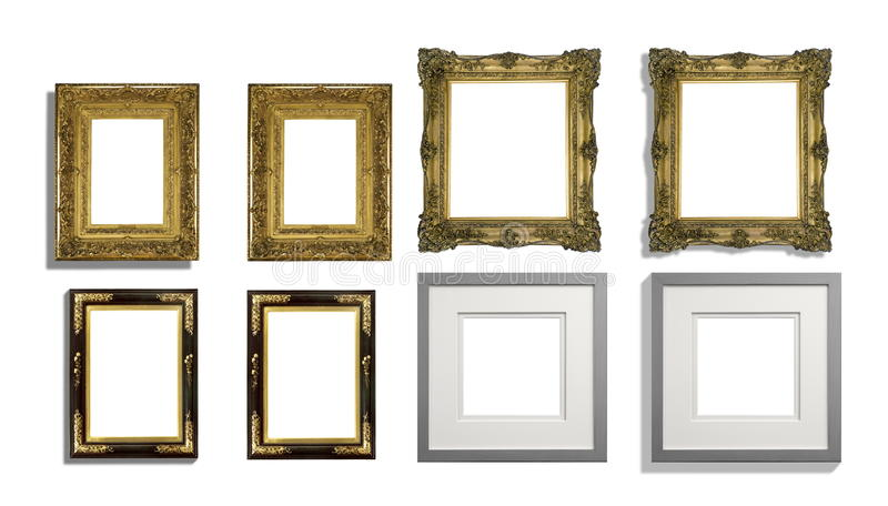 Mixed set of picture frames half with shadows stock photo