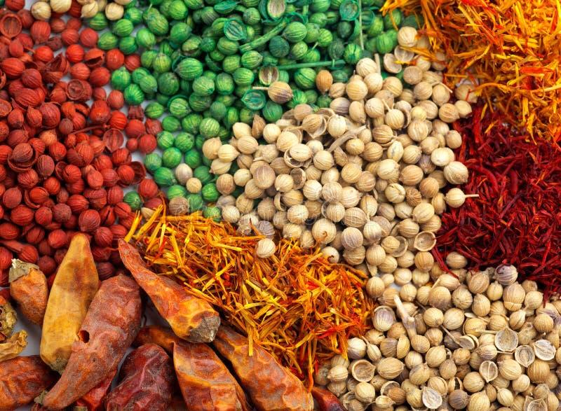 Mixed spice background. Saffron, coriander and chili mixed spice background