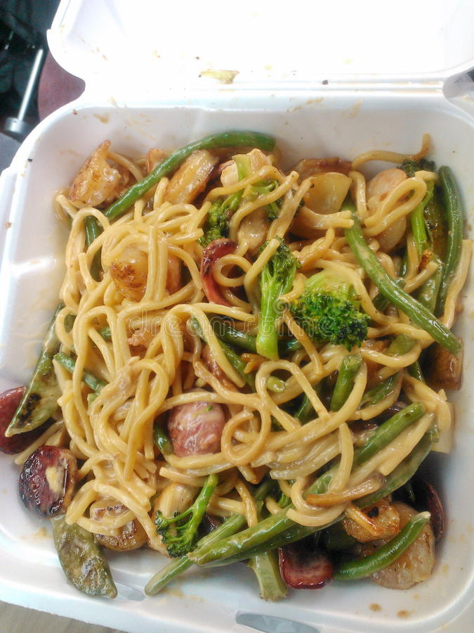 Mixed vegetables and all meats low mein. Lunch with Mixed vegetables and all meats low mein royalty free stock photos