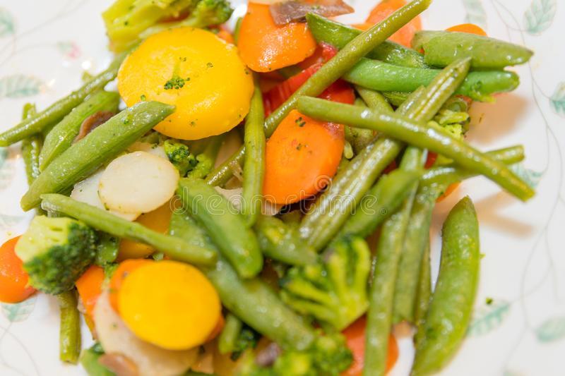 The mixed vegetables on plate royalty free stock image