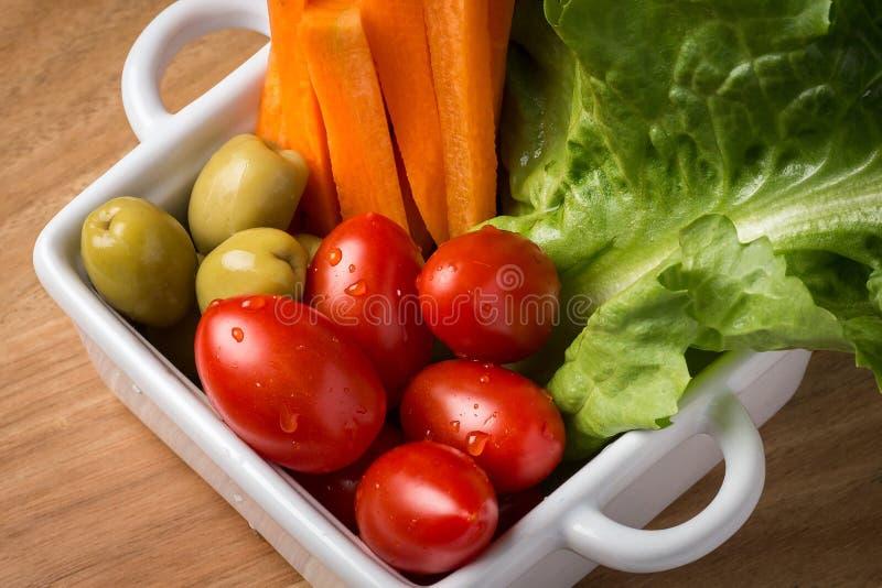Mixed vegetables salad closeup stock photo