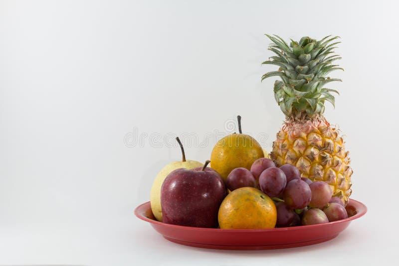 Mixefruit op het dienblad stock afbeelding
