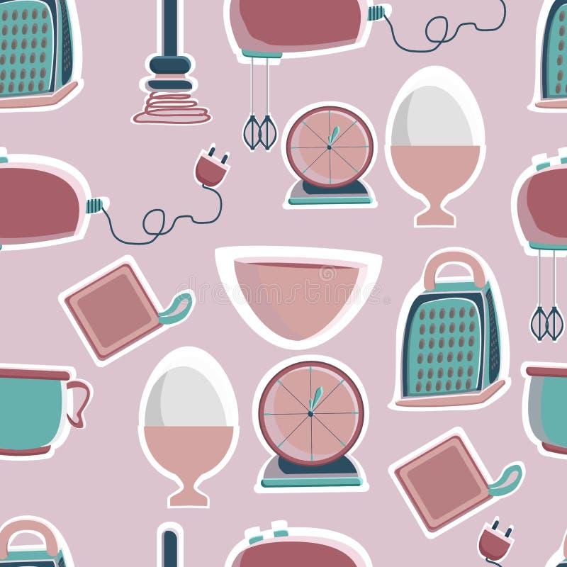 Mixer, blender, kitchen scales, shaker, timer, bowls, plates for the bakery shop. Tools for pastry maker. Vector illustration. Seamless background vector illustration