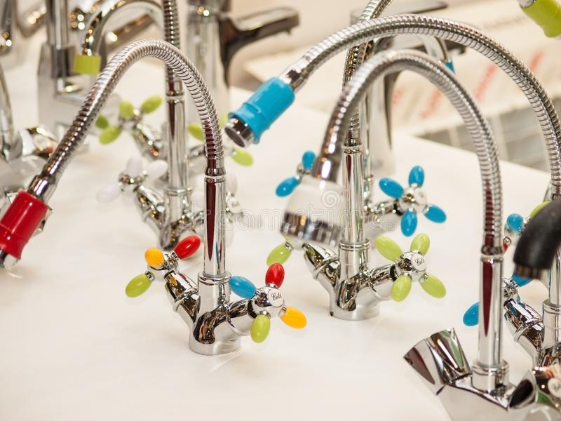Modern faucet bathroom. Mixer cold hot water. Kitchen tap . Front view stock photography