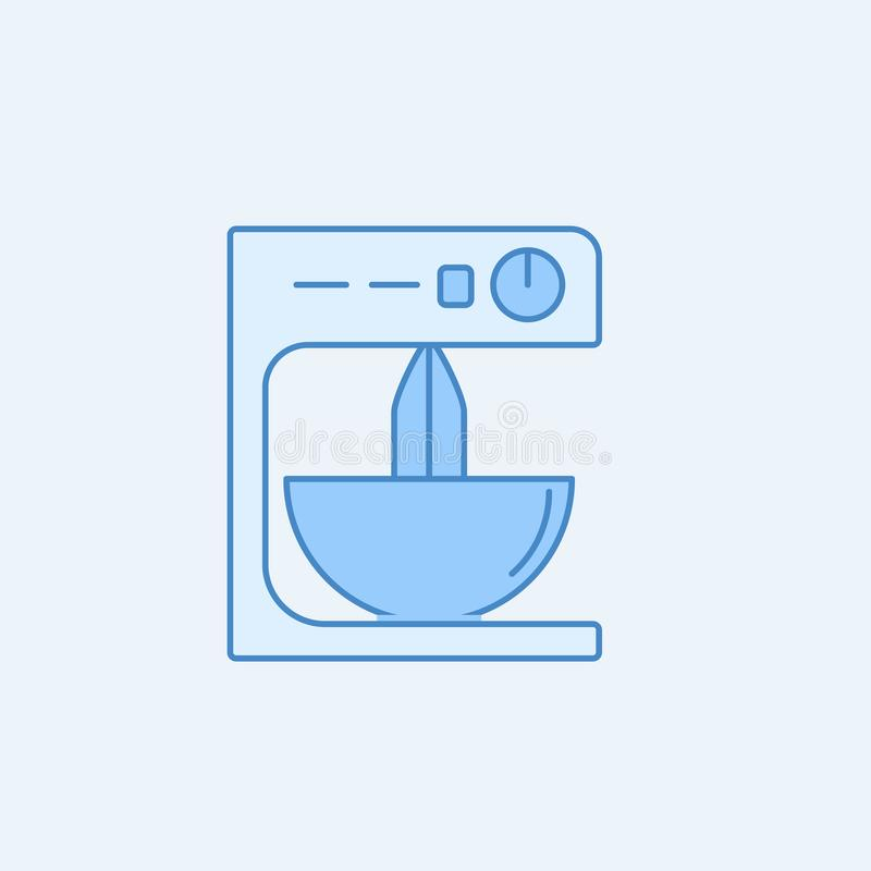 Mixer 2 colored line icon. Simple blue and white element illustration. mixer concept outline symbol design from kitchen set. On light background royalty free illustration