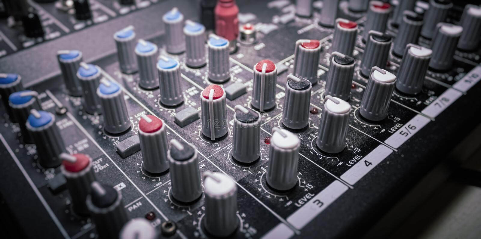 Mixer Console close up. In a shallow depht of field stock photography
