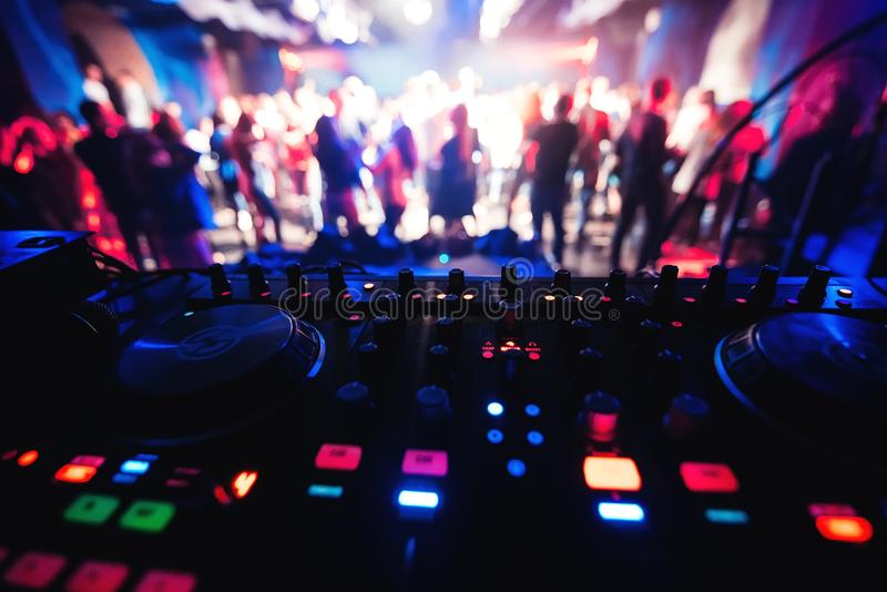 Mixer and DJ booth in the nightclub at party royalty free stock images