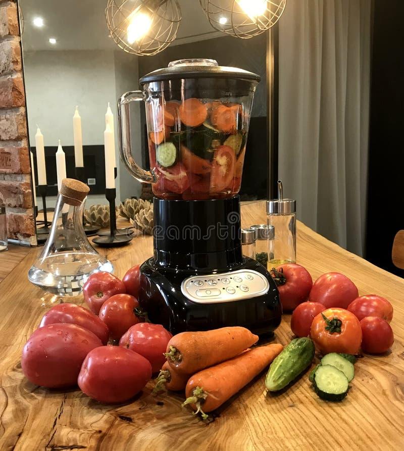 Mixer en verse groenten Natuurlijk, gezond voedsel stock foto