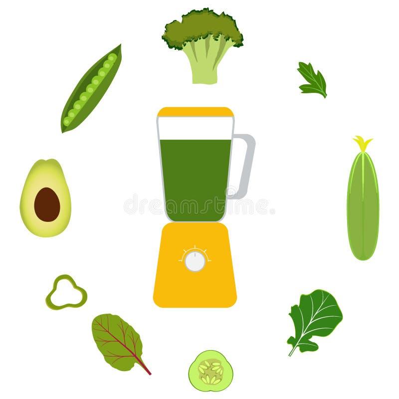 Mixer, groenten en groentesappen Avocado, komkommer, broccoli, kruiden, erwten Glazen met groen sap Vectorillustratie, vector illustratie