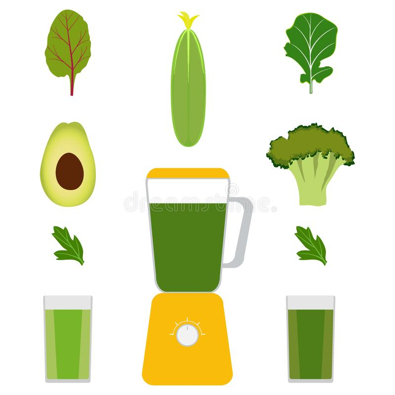 Mixer, groenten en groentesappen Avocado, komkommer, broccoli, kruiden Glazen met groen sap Vectorillustratie, isola vector illustratie