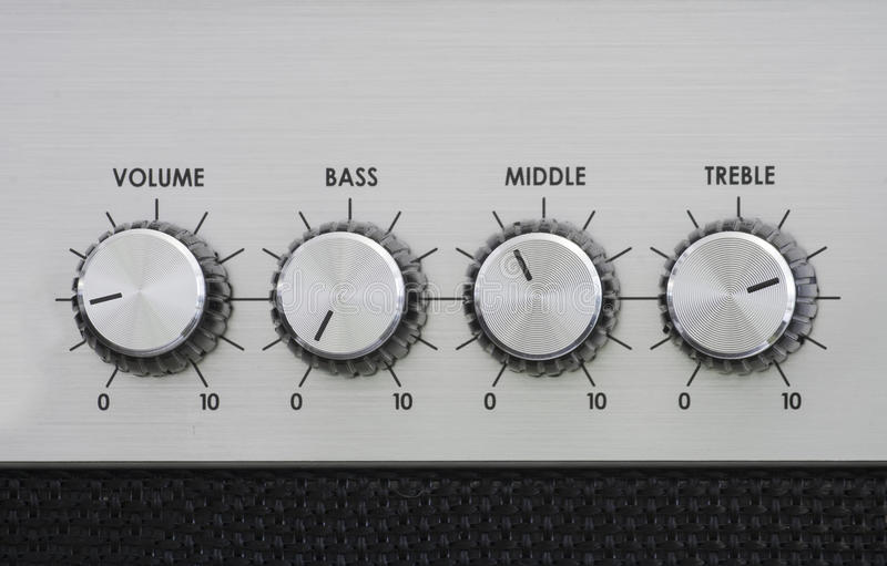 Mixer knobs of an amplifier stock image