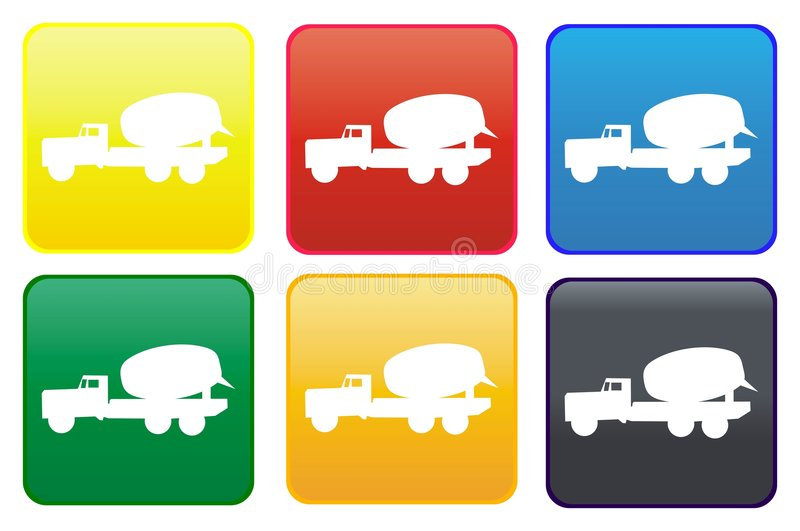 Mixer truck web button stock illustration