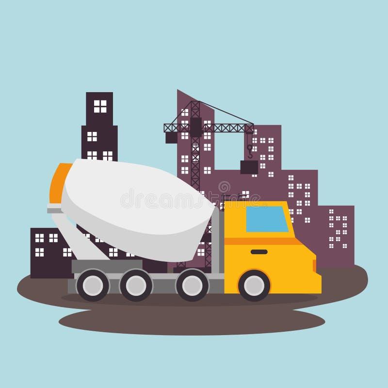 Mixervrachtwagen in aanbouw stock illustratie