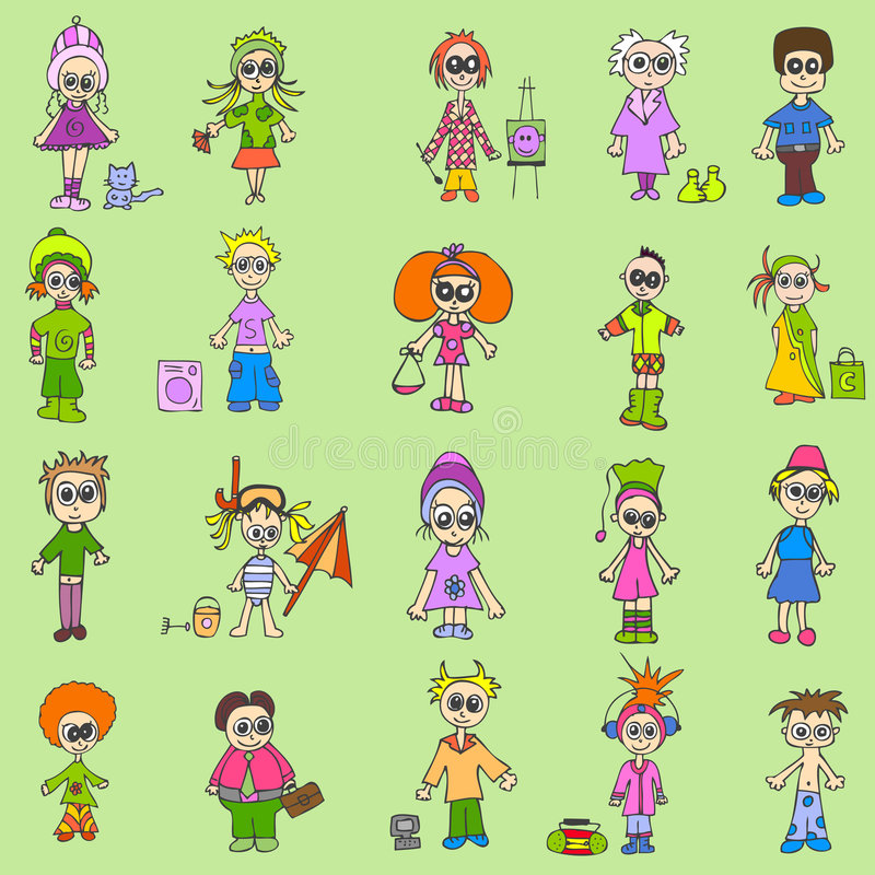 mixfolk royaltyfri illustrationer