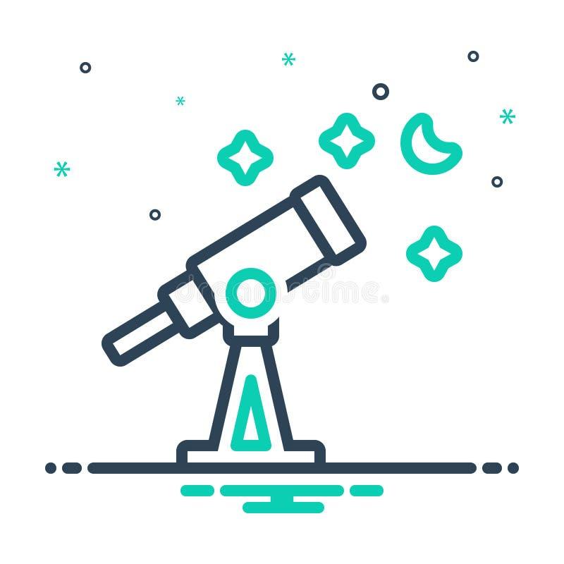 mixictogram voor Telescoop, astronomie en ontdek royalty-vrije illustratie
