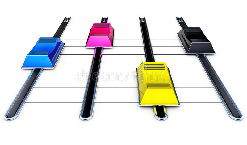 Mixing cmyk. Illustration of a mixing colors concept royalty free illustration