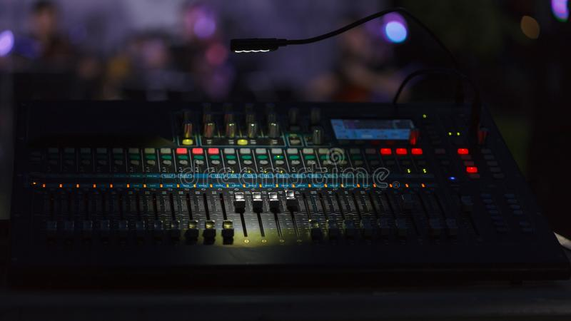The mixing console working stock photography