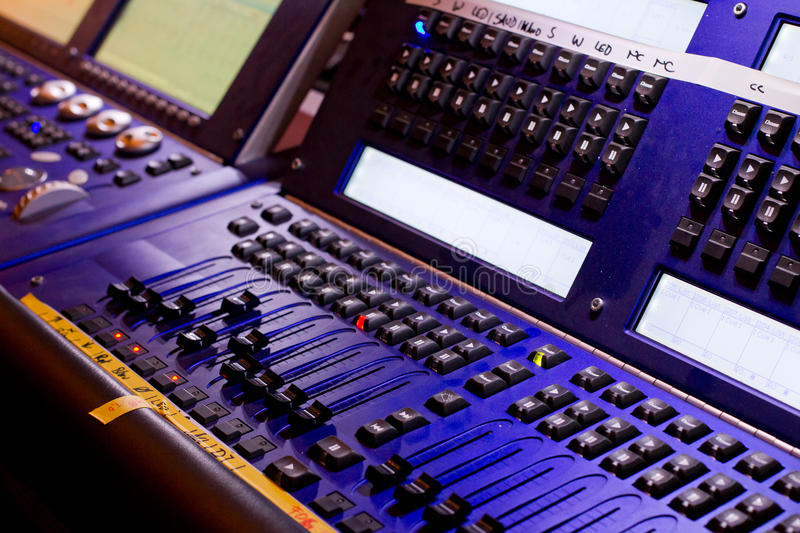 Mixing desk. With regulators, lamps, lights and different displays stock photos