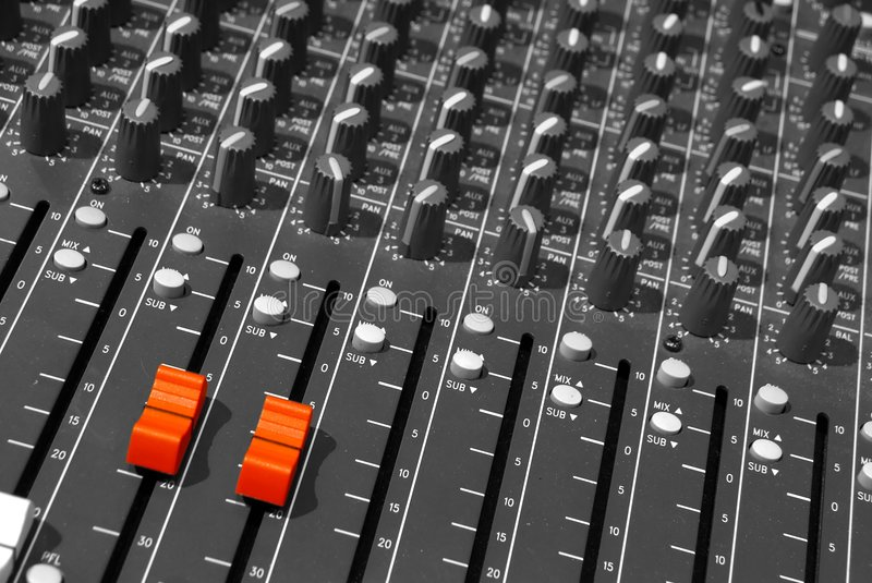 Mixing desk of a dj royalty free stock images