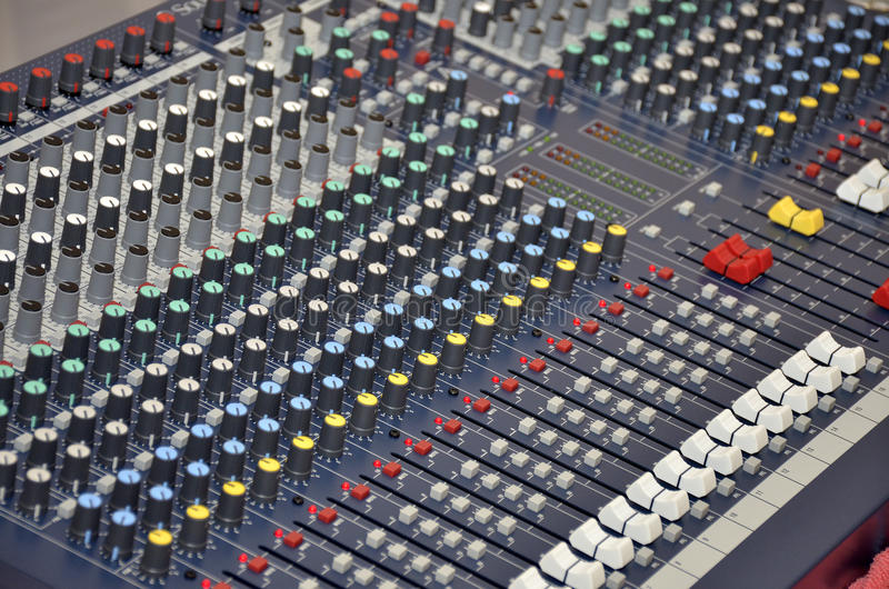 Mixing desk for dj and music setup stock photo