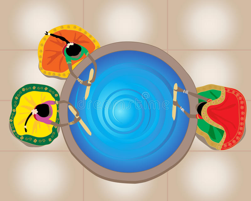 Mixing dye. An illustration of indian ladies wearing colorful traditional clothing mixing a huge vat of blue dye viewed from above royalty free illustration