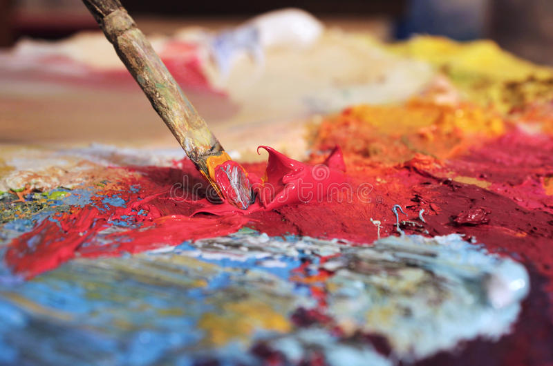 Mixing oil paints royalty free stock image