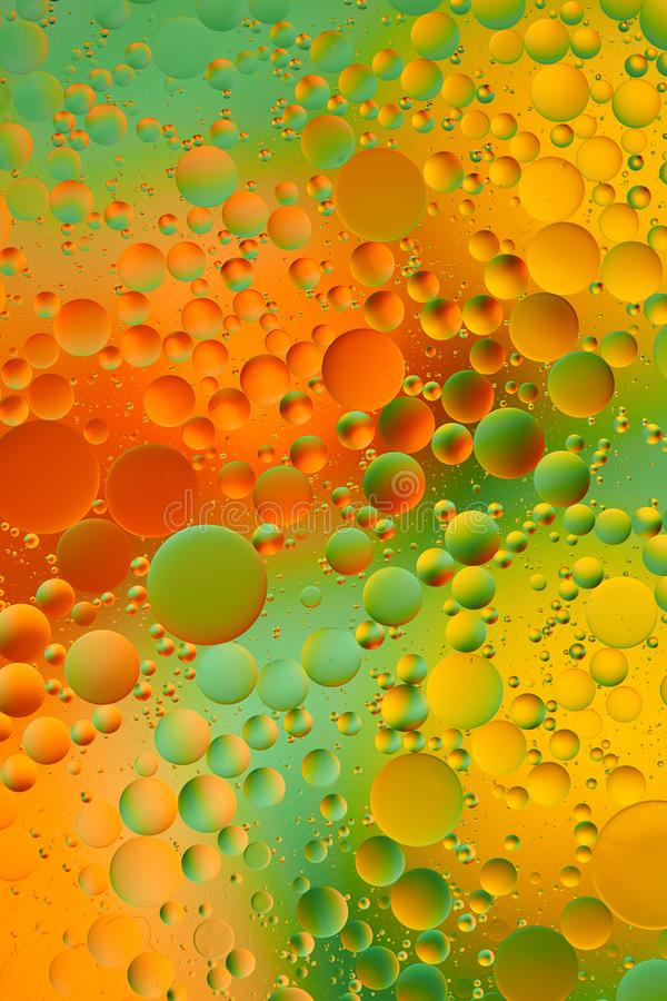 Mixing water and oil, beautiful color abstract background based on green and yellow circles, ovals, macro abstraction royalty free stock image