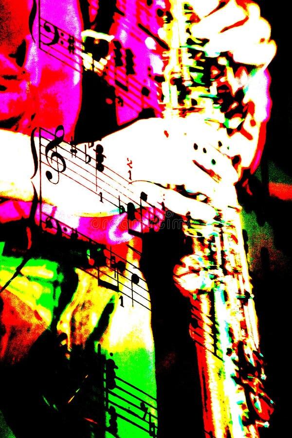 mixmusikalen bemärker saxofonen vektor illustrationer