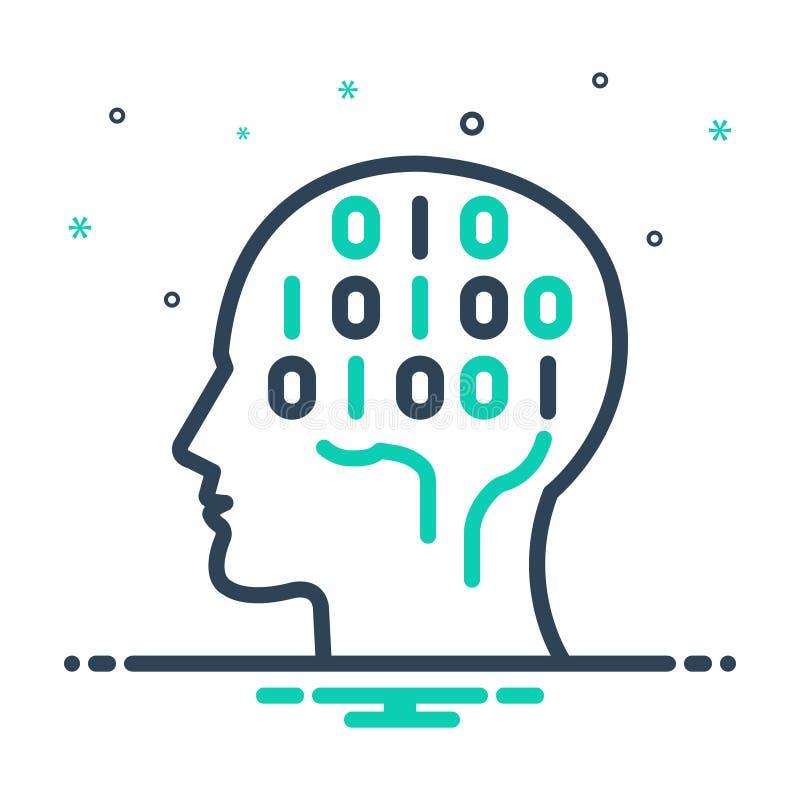 mixpictogram voor Binary Mind, hardware en chip royalty-vrije illustratie