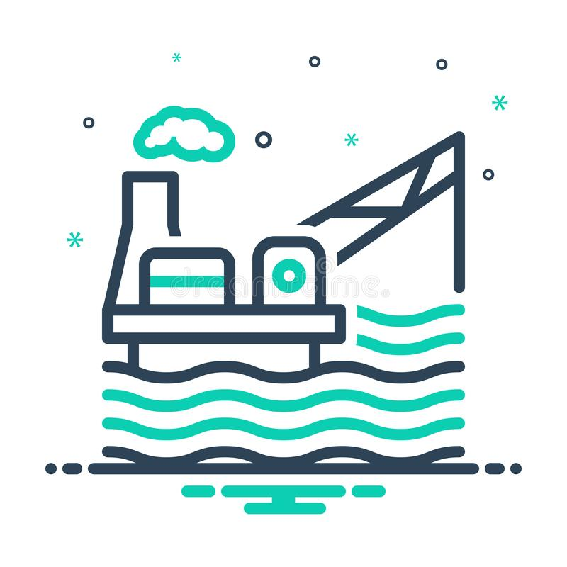 mixpictogram voor drilling Rig, platform en exploratie vector illustratie
