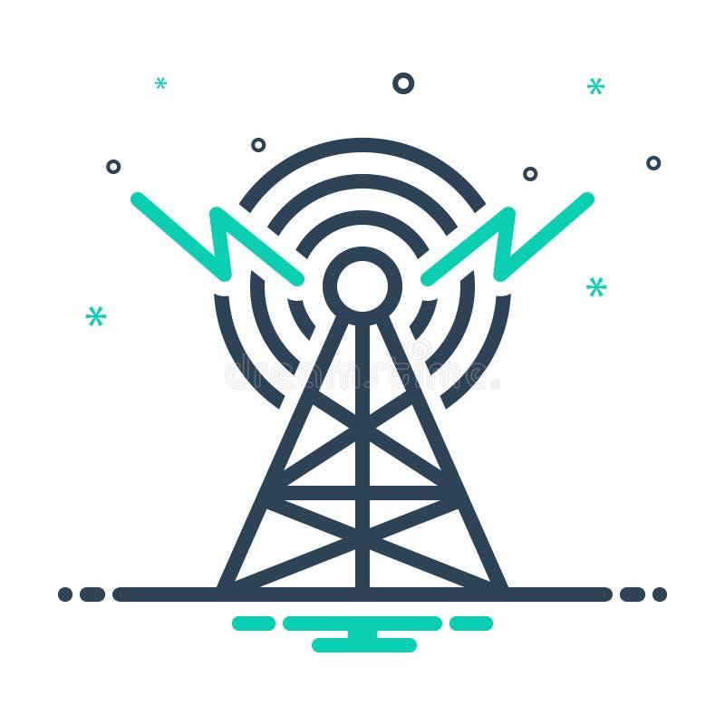 mixpictogram voor uitzending, radar en antenne vector illustratie