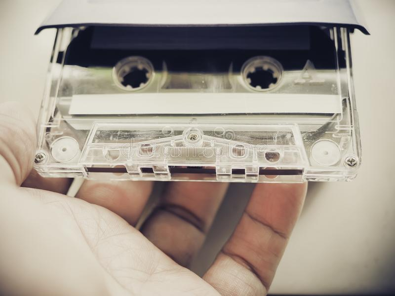 Mixtape cassette in the hand stock photography