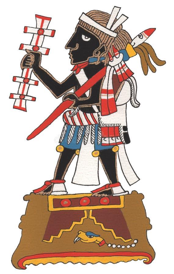 Mixtec-Krieger mit schwarzer Haut und dem umsponnenen Haar Stellung auf Plattform, zeremonielles Geklapper und Stange halten lizenzfreies stockbild