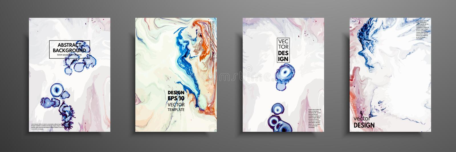 Mixture of acrylic paints. Design template with fluid art. Vector banner with colorful texture. Applicable for covers stock illustration