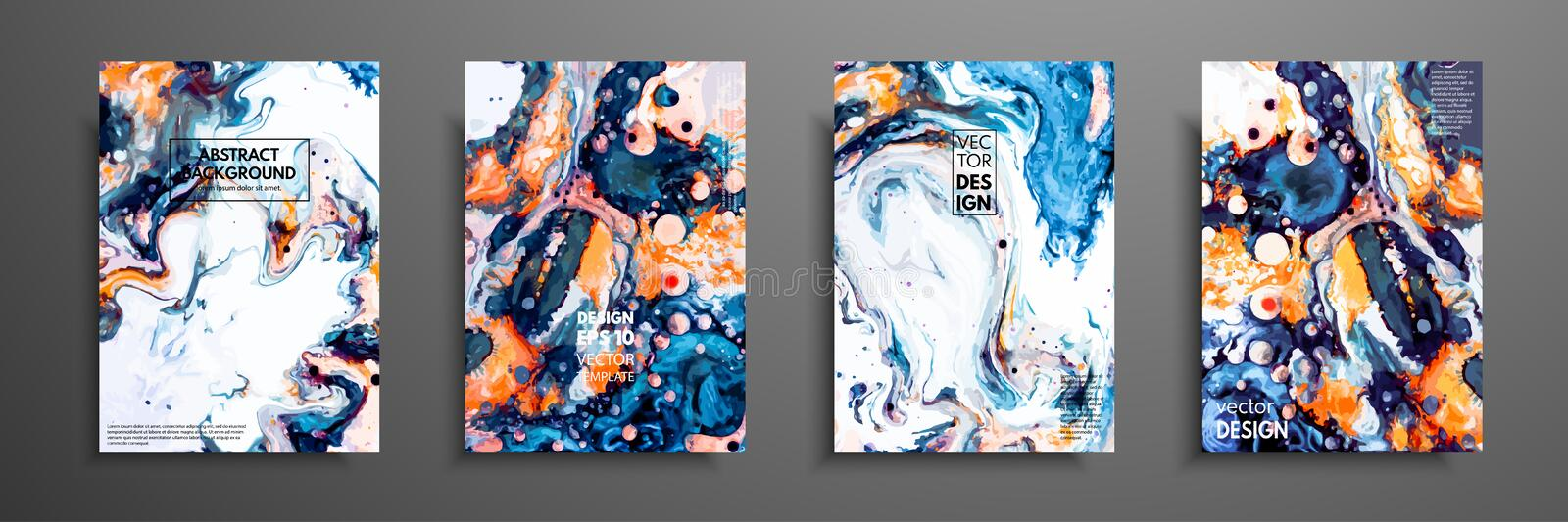 Mixture of acrylic paints. Liquid marble texture. Fluid art. Applicable for design cover, presentation, invitation, flyer, annual royalty free illustration