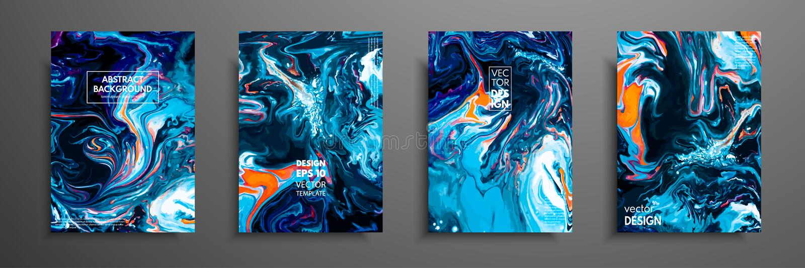 Mixture of acrylic paints. Liquid marble texture. Fluid art. Applicable for design cover, presentation, invitation royalty free illustration